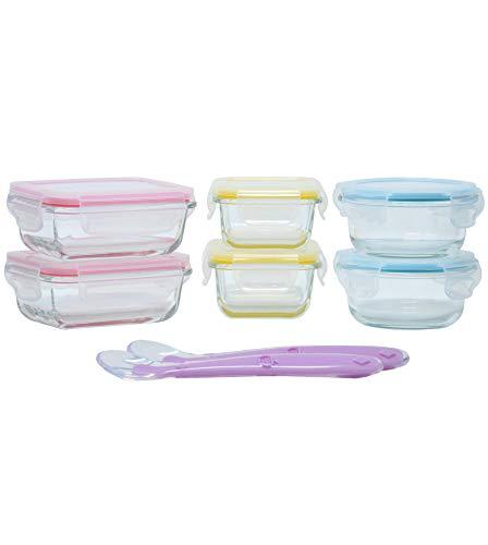 Home Planet Little Glas Babynahrung Aufbewahrung (6er Set) | Babybrei Einfrieren | Mit 2 Baby Silikon Löffeln und Etui | BPA Frei Luftdicht klick Lock Deckel