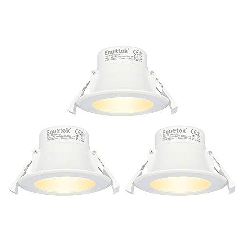 Lamparas Focos Empotrables LED Techo 8W Downlight LED Luz Calida 3000K Agujero Φ70-85MM AC100~240V IP44 para Cocina Baño Salon Lot de 3 de Enuotek