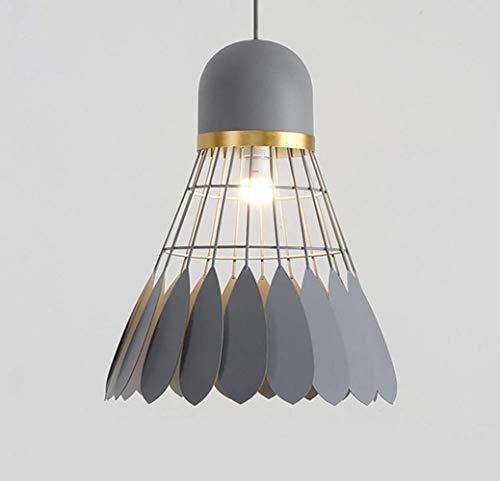 Lámpara de techo gris E27 moderna con colgante de Badminton, lámpara de techo industrial, diámetro 40 cm x 50 cm, altura de lámpara de interior Gris