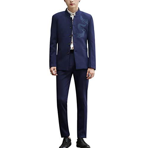 Heren Past 3 Stukken Slim Fit Moderne Zhongshan pak (Oosterse stijl met Dragon Design)