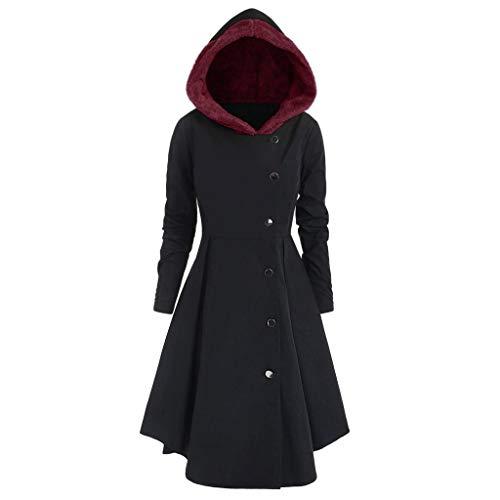 iHENGH Damen Herbst Winter Bequem Mantel Lässig Mode Jacke Frauen Plus Size Asymmetrische Fleece Mit Kapuze Einreiher Lange Drap Buttons Coat(Schwarz, 3XL)