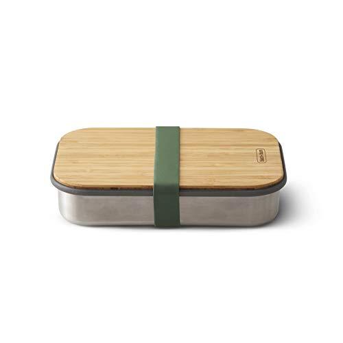 black+blum Edelstahl Sandwichbox, olive,100% plastikfrei: ideale Brotdose mit Bambusholzdeckel / Schneidbrett und Silikonband, Maße: 22,3 x 15 x 5,2 cm