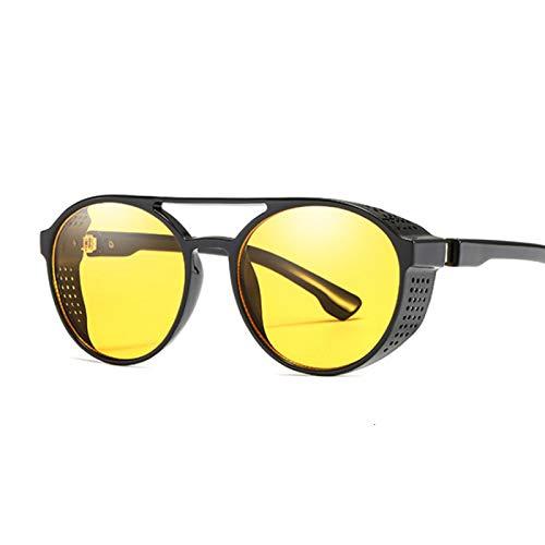 Único Gafas de Sol Sunglasses Gafas De Sol Steampunk Redondas Retro para Mujer, Gafas De Protección Lateral, Montura Met