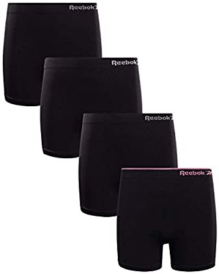 Reebok Girls Active Seamless Cartwheel Shorts (4 Pack), Size X-Large/16, All Black/Pink Logo