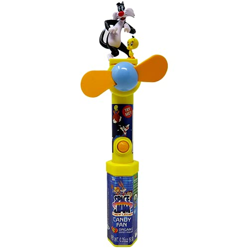Looney Tunes Space Jam Favorite Characters Battery Operated Handheld Fan with Organic Jelly Beans Inside, Small Portable Fans for Travel and Vacation, 9.5 Inches