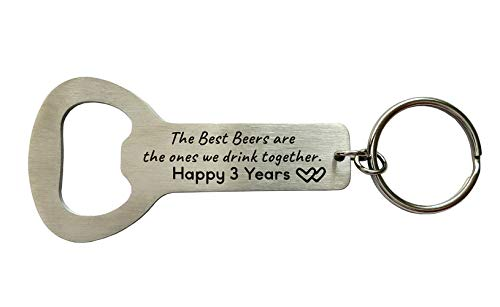 Hunsband Gifts from Wife 3 Years of Marriage Bottle Opener for Men Boyfirend