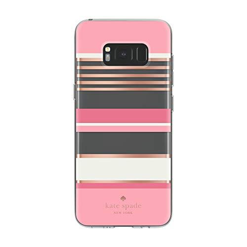 kate spade new york Flexible Hardshell Case for Samsung Galaxy S8 - Berber Stripe Clear/Atlas Pink/Rose Gold Foil/Cream