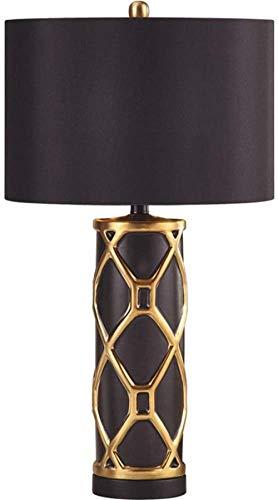 Lámpara de mesa de cerámica de lujo para dormitorio o mesita de noche, cálida y minimalista, moderna lámpara de mesa para el hogar, sala de estar, 1 E27 (38,5 x 70 cm)