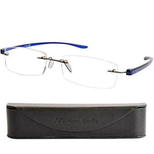 Gafas de Lectura Montura al Aire con Cristales Rectangulares, Funda GRATIS, Flexible Patilla (Azul) de Hombre y Mujer +2.0 Dioptrías