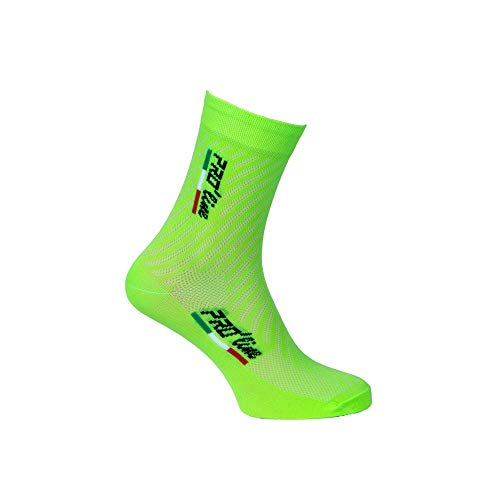 PRO' line Calze Calzini Ciclismo Verde Fluo all Green Cycling Socks 1 Paio One Size New Line