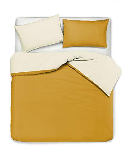 Set copripiumino federe letto bicolor double face parure copripiumino in cotone made in Italy Matrimoniale Beige/Ocra