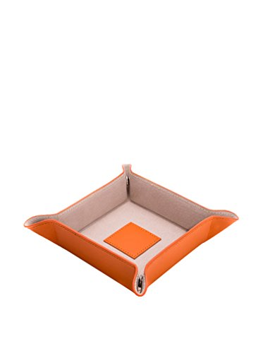 Bey Berk orange Lizard Print Leder Snap Catchall Valet Tablett mit Pig Haut Leder Futter