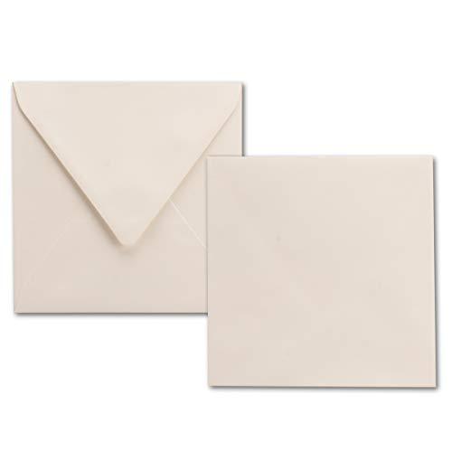 50x quadratische Brief-Umschläge naturweiß - 100 g/m² - 150 x 150 mm - Ideal für Grußkarten und Einladungs-Karten - Marke: NEUSER PAPIER