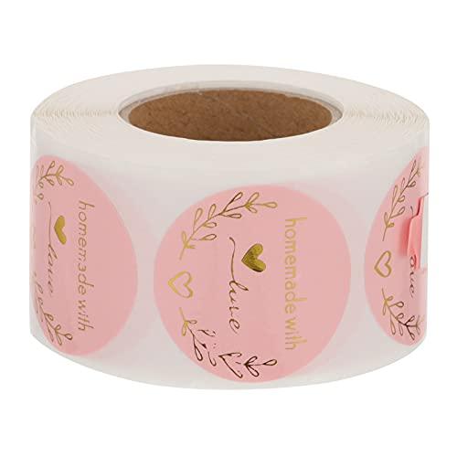 NUOBESTY Etiquetas adhesivas redondas hechas en casa con amor para envolver regalos para bodas, baby shower, fiesta de cumpleaños