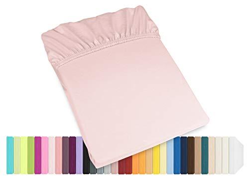 Schlafgut Mako Jersey Spannbetttuch 15001 oder  Kissenbezug 15101 - Baumwolle 406.463, zartrosa, Spannbetttuch 90-100 x 200 cm