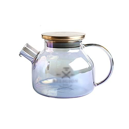 hkwshop Jarra de Agua Jarra de Vidrio con Filtro en Espiral Hervidor de Alta Temperatura Resistente a la Tapa con Tetera de Gran Capacidad con Mango Anti-Scald Tetera para té Helado (Size : Small)