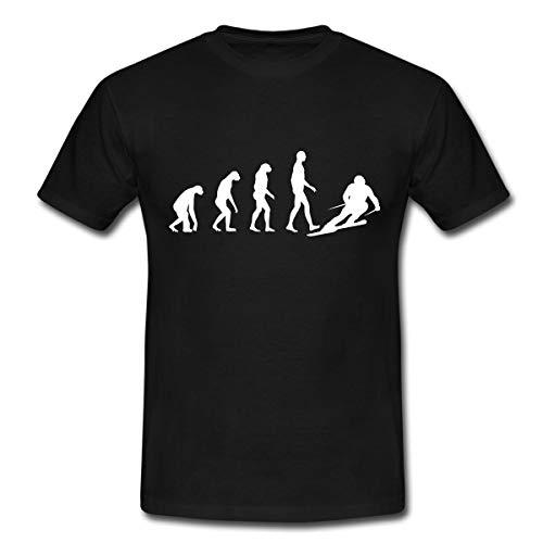 Skifahren Evolution Skifahrer Abfahrt Männer T-Shirt, M, Schwarz