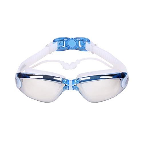 Gafas de natación impermeables de una sola pieza tapones para los oídos HD miopía marco grande para adultos azul