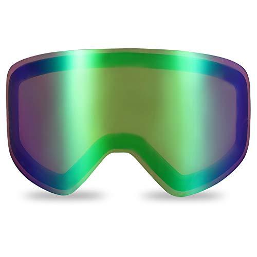 devembr Lente Tórica Rosa-Verde Gafas de Esquí Cilíndrico Pro, Lente Intercambiable con Imán, Gafas para Snowboard sin Marco Anti-Empañamiento, Protección UV (Solo Lente, VLT 45%)