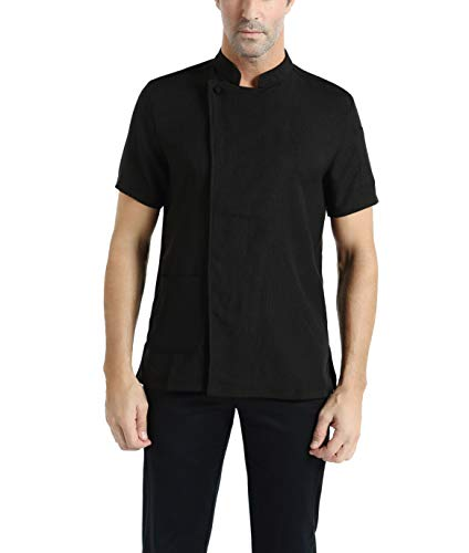 Mens Black Short Sleeve Chef Coat Jacket Restaurants Kitchens Cake Shops Cafes (X-Small, Black)