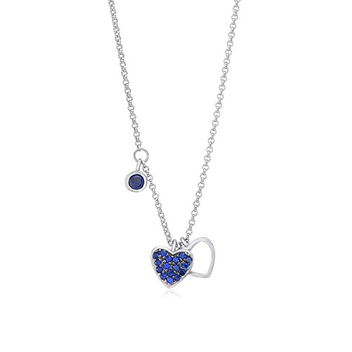 "Sterling Silver 925 Blue Double Heart Pendant Necklace with Cubic Zirconia Dangle Accent on Rolo Chain 16"" Italy UNICORNJ"