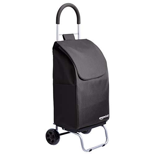 Amazon Basics Chariot de courses pliable et roulant, Hauteur 91 centimètres poignée incluse, Noir