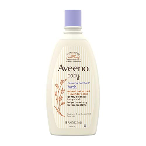 Aveeno Baby Calming Comfort Bath & Wash with Relaxing Lavender & Vanilla Scents & Natural Oat Extract, Hypoallergenic & Tear-Free Formula, Paraben-, Phthalate- & Soap-Free, 18 fl. oz