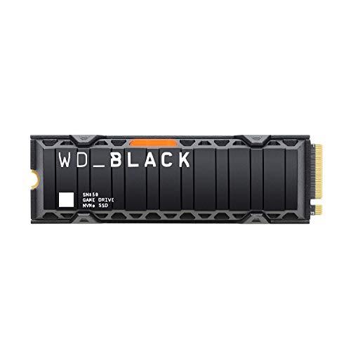 WD_BLACK SN850 de 500GB - SSD NVMe interno para gaming, PCIe Gen 4, hasta 7000 MB/s velocidad de lectura, con disipador térmico Funciona con PlayStation 5 (fase beta del firmware)