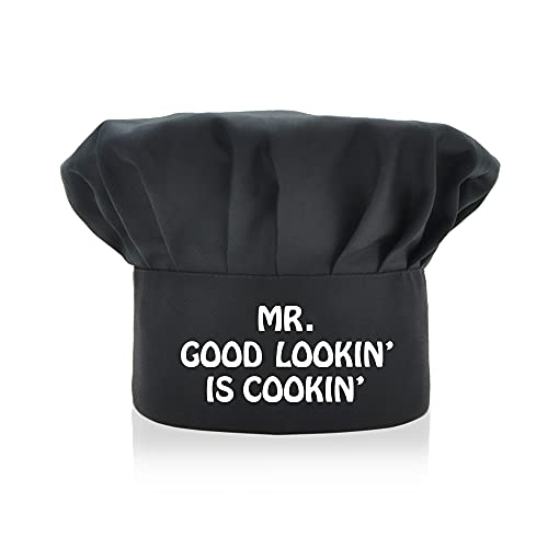 AGMdesign MR. Good Looking is Cooking Funny Chef Hat, Funny Chef Wear, Adjustable Kitchen Cooking Hat for Men & Women Black, Mother's Day/Father's Day/Birthday Gift for Him, Her, Mom, Dad, Friend