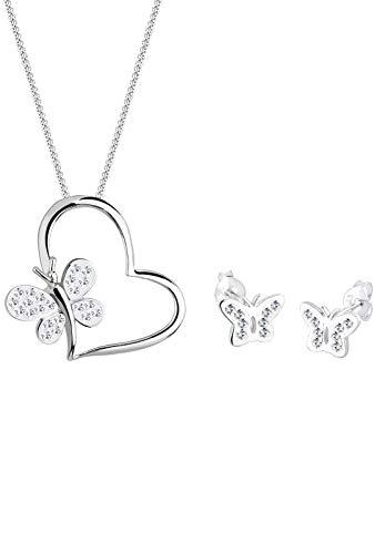 Elli Schmuckset Damen Schmetterling Herz mit Swarovski® Kristalle in 925 Sterling Silber