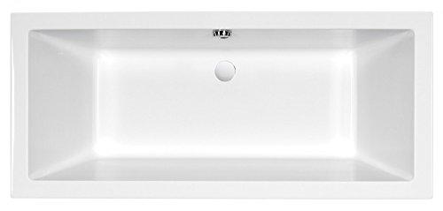 AQUADE extra starke Badewanne 8mm Acryl-Badewanne Wanne Acrylwanne Rechteckwanne Weiß 170cm x 75cm x 55cm Modell: Ulm 170x75