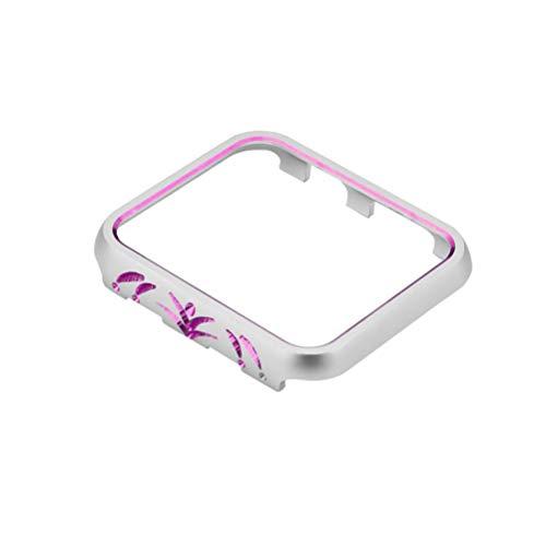 Hemobllo Custodia Protettiva in Metallo per Apple Watch Compatibile 3 e 2 42mm (Argento e Viola)