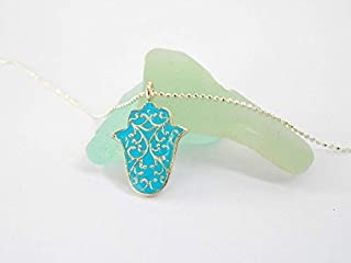 Dainty Turquoise Hamsa Pendant Necklace, Sterling Silver Filigree Hand of Fatima Protection Charm, Handmade Designer Jewelry Gift for Girls and Women