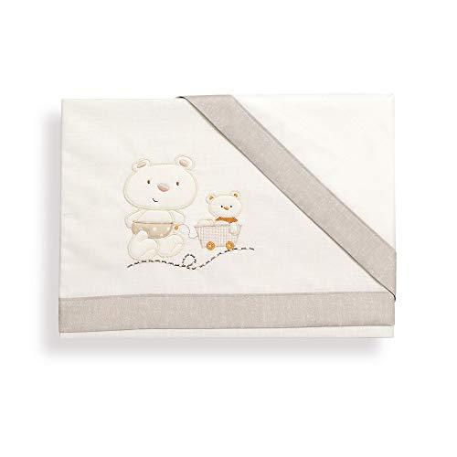 Interbaby Oso Carrito - Juego de sábanas para minicuna, color blanco/beige