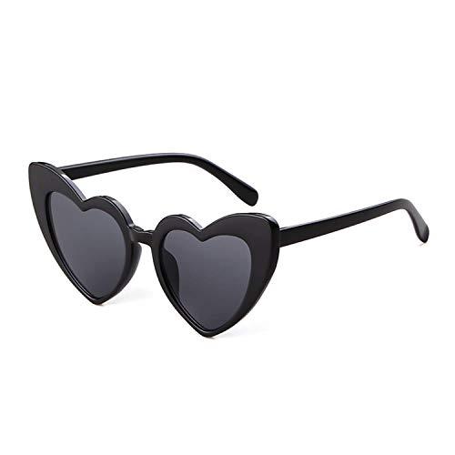 Retro Vintage Clout Goggle Heart Sunglasses Cat Eye Mod Style for Women Kurt Cobain Glasses Plastic Frame Mirrored Lens (Black Grey, 53)