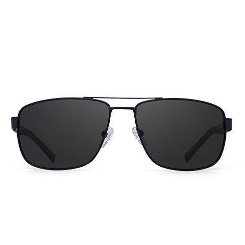 JIM HALO Gafas de Sol Aviador Polarizadas Conducir Marco de Metal Lentes Cuadrados Anteojos Hombre Mujer(Azul/Gris Polarizado)
