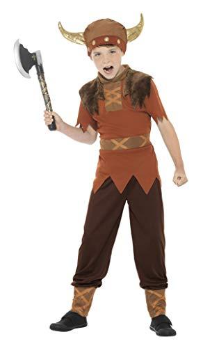 Smiffys-38665T Disfraz de Vikingo, con Camiseta, Pantalones y Sombrero, Color marrón, T-Edad 12 años + (Smiffy
