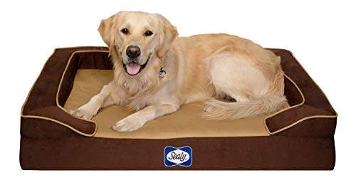 Sealy Dog Bed Pet Dog Bed | Quad Layer Technology with Memory Foam, Orthopedic Foam, and Cooling Energy Gel. Machine Washable Cover. Large, Autumn Brown, Model Number: Bella Large