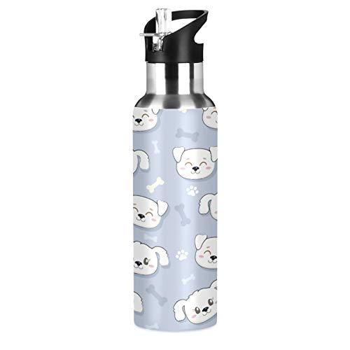 xigua Botella de agua deportiva para perros con pajita, doble pared aislada al vacío, jarra de agua de acero inoxidable con mango ancho, botella de agua para entusiastas de fitness, 650 ml