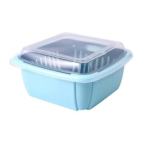 3 en 1 Caja de desage de doble capa con tapa para el hogar Multifuncin Refrigerador Crisper Almacenamiento de vegetales (Color : 5AC1104075-LBL)