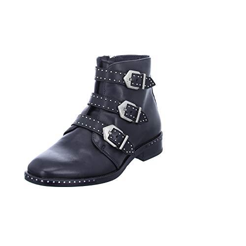 BOXX Damen Stiefelette WH230H03 mit rockigen Nieten und Schnallen, Warmfutter und Reißverschluss Schwarz (Black) Größe 37 EU