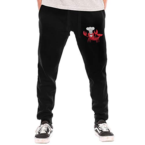 Mens Jogger Sweatpants Cartoon Red Lobster Chef in White Cook Hat Middle Rise Fleece Pants