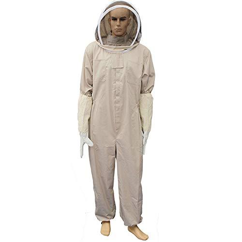 Tuta da Apicoltore Professionale Tuta da Tenere in Ape in Cotone Giacca Protettiva per Ape con Cappuccio in Velo, Completo da Apicoltore Completo Casco Pantaloni Guanti,XL