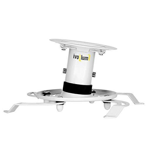 ivolum universal Beamer-Deckenhalterung PDH130 - Traglast bis 15 Kg - neigbar - 13cm Deckenabstand - Deckenhalterung für Projektor - weiß