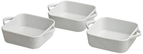 TOGNANA Mignon 3 Piece Square Mini Cooker Set, Off White Pattern, 7 cm