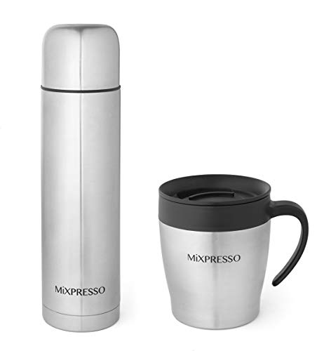 Mixpresso Coffee Flask +Coffee Mug, Stainless Steel Coffee vacuum flask For Hot Coffee or Cold Tea Fits Car Caddy or Backpack, Leak Proof Travel Mug, 17 Ounce Coffee Thermos