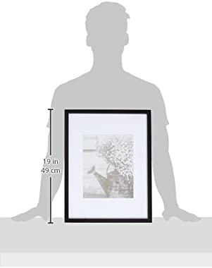 Gallery Perfect 7 Piece Black Photo Kit with Decorative Art Prints & Hanging Template Gallery Wall Frame Set, Multi Size