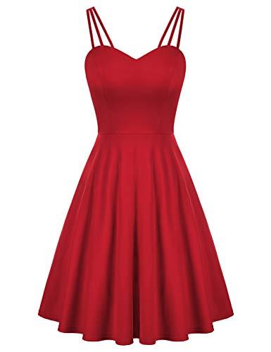 Vestido Plisado sin Espalda Informal para Mujer Vestido Plisado sin Mangas Elegante Rojo S CL0103S21-2