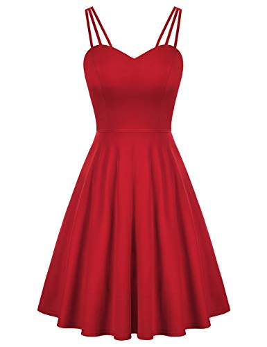 GRACE KARIN Women's Spaghetti Strap Dress V Neck Sleeveless Cocktail Dress Casual Swing A Line Club Party Dresses Wine Red