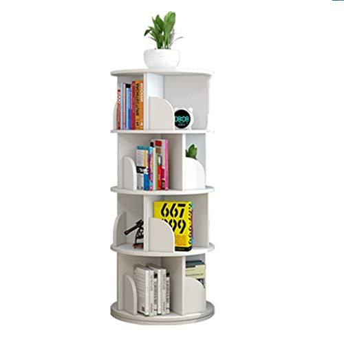 Librerie Scaffale Girevole a 360 ° Scaffale Multistrato Coltiva la Lettura dei Bambini Salva Spazio (Color : Bianca, Size : 40 * 129cm)